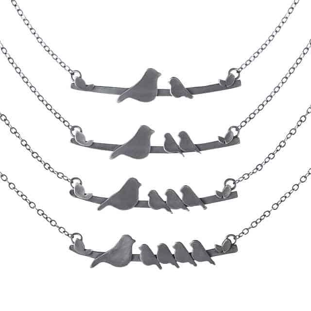Mother Nestling Bird Necklaces