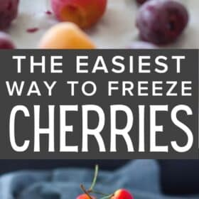 a tray with frozen cherries