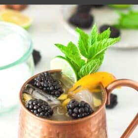 a ginger beer mocktail in a copper mug topped with blackberries and mint