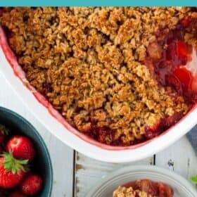 a white dish of gluten-free strawberry crisp