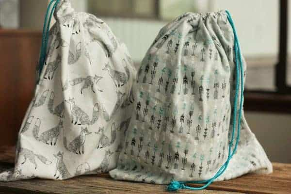 two reusable produce bags
