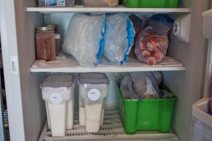 a freezer shelf with bins for grains and ice