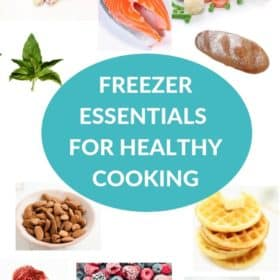 "food items and text ""freezer essentials for healthy cooking"""