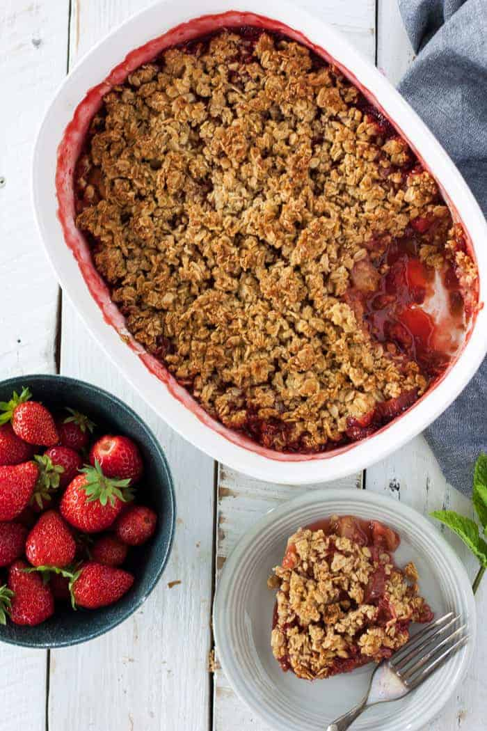 a overhead shot of a gluten free rhubarb strawberry crisp