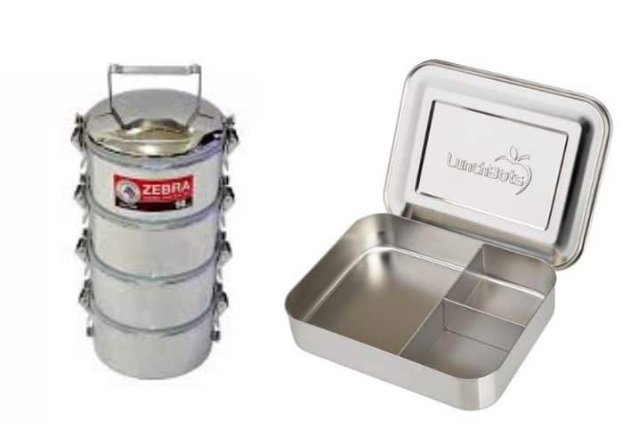 two stainless steel bento boxes