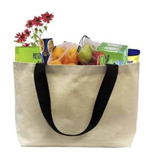 a cloth bag full of groceries