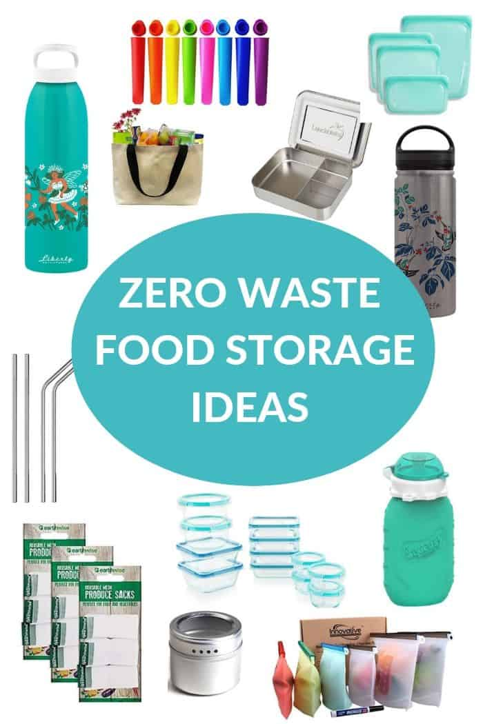 reusable containers, water bottles, and other zero waste food storage ideas in a collage