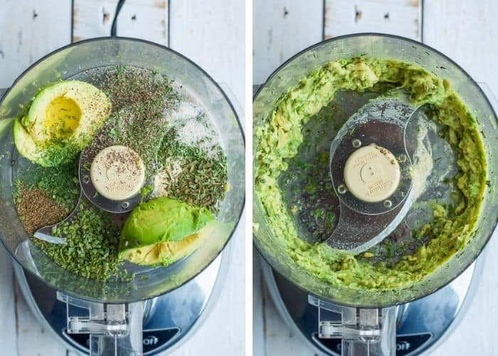 two process shots showing how to make avocado ranch dressing in a food processor
