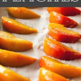 frozen peach slices on a tray