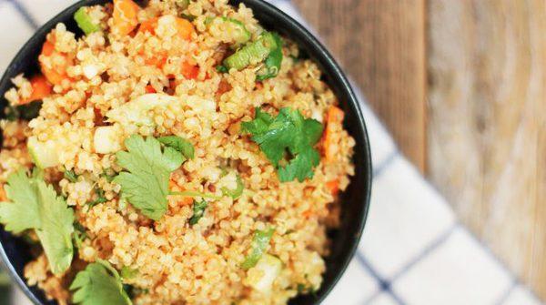 A bowl of zesty instant pot quinoa salad