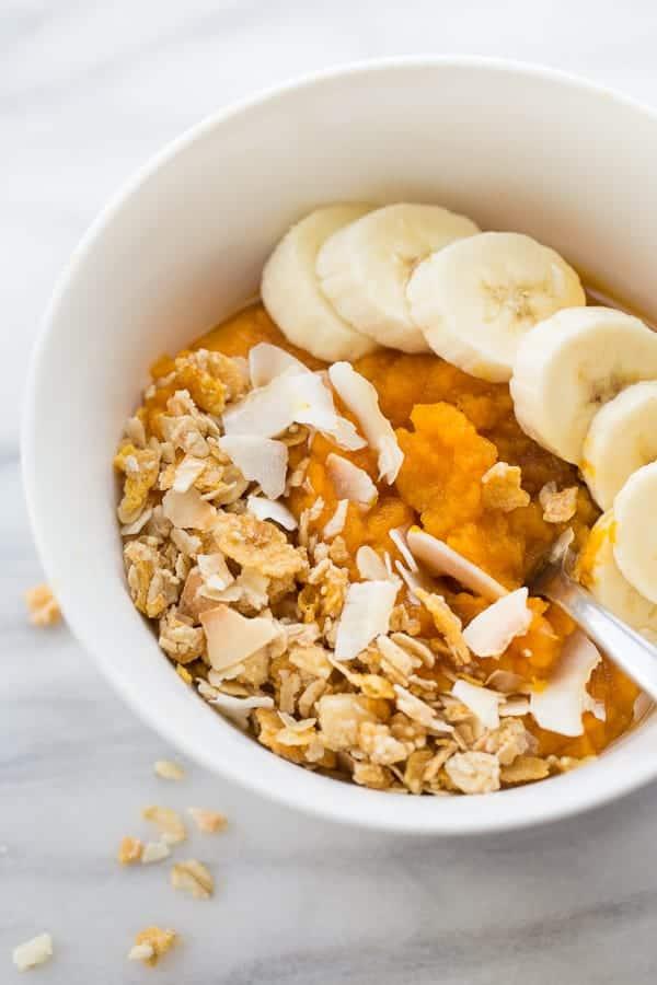 sweet potato breakfast porridge with bananas and toasted coconut