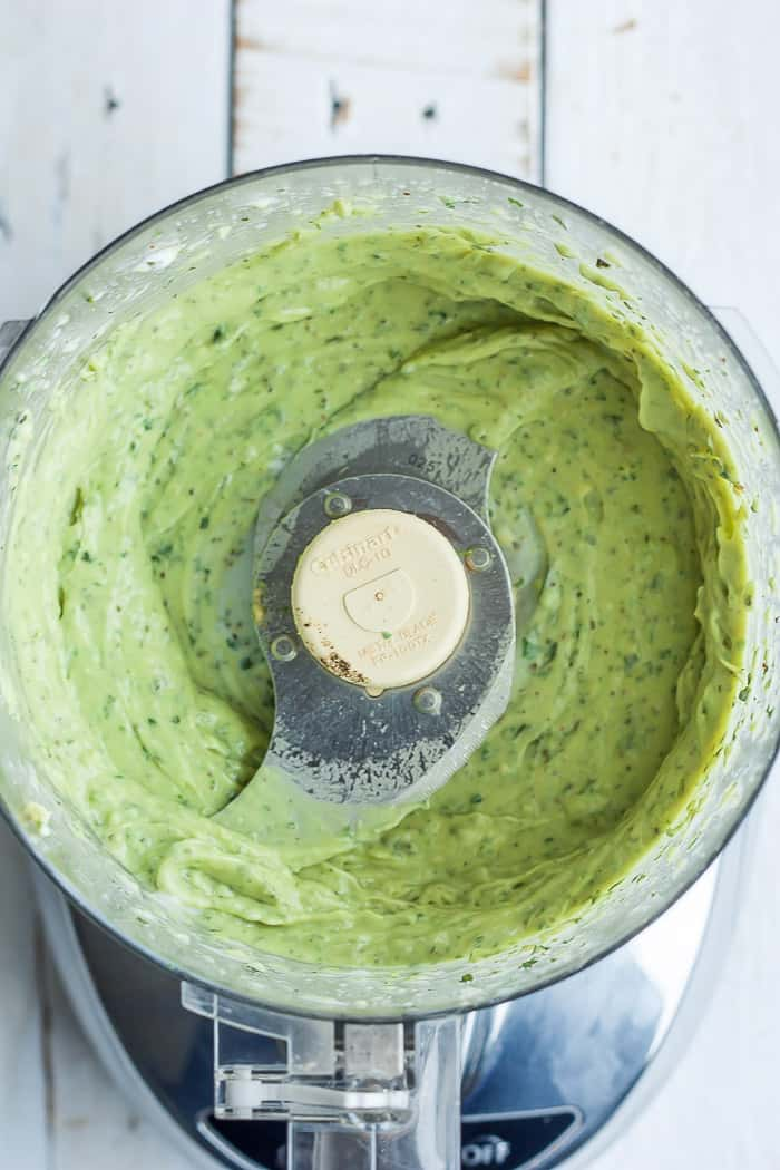 blended avocado ranch in a food processor