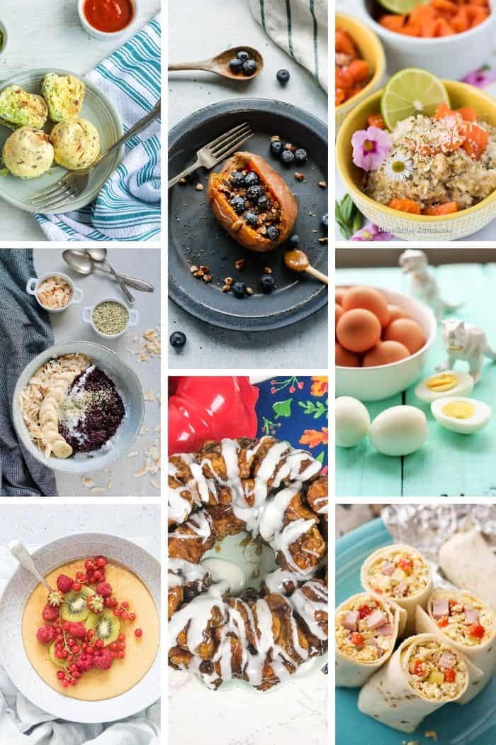 an 8 photo collage of instant pot breakfast recipes