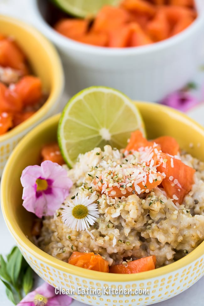 instant pot breakfast porridge in a bowl with flours and limes