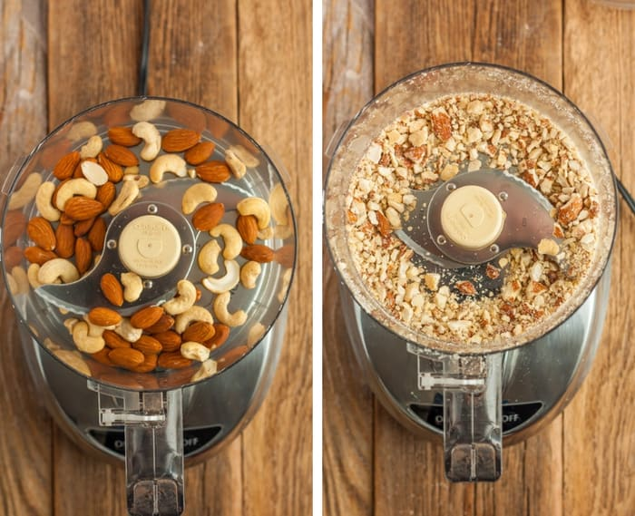 two photos of almonds and cashews in a food processor