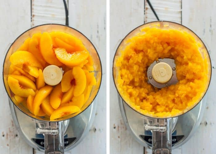Two photos of peaches in a food processor