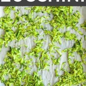 a tray of shredded zucchini