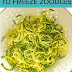 a strainer full of zoodles