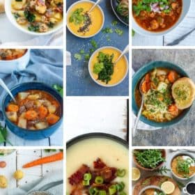 a collage of 8 instant pot soup recipes