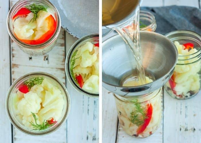 brine being poured into a jar for making pickled vegetables