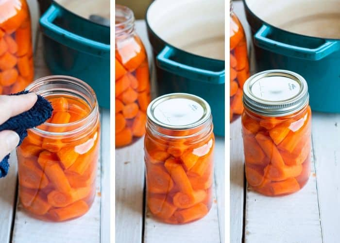 3 photos showing how to prepare carrots for canning