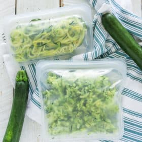 freezer bags with shredded zucchini and zoodles