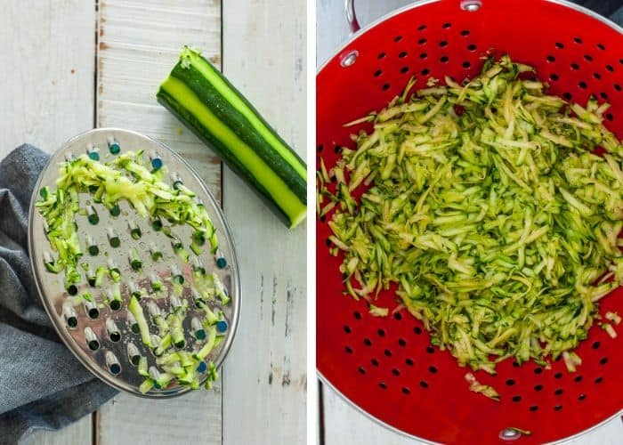 shredded zucchini in a grater and a strainer