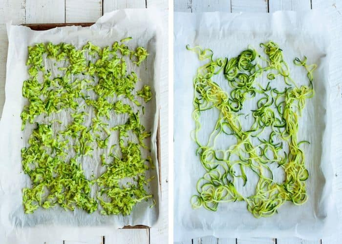 two photos of baking sheets with shredded zucchini and zoodles