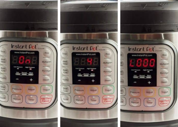 3 photos of an instant pot with different displays