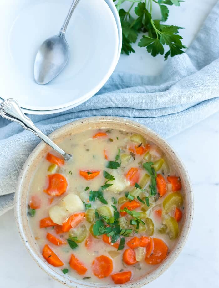 a bowl of dairy-free chicken gnocchi soup