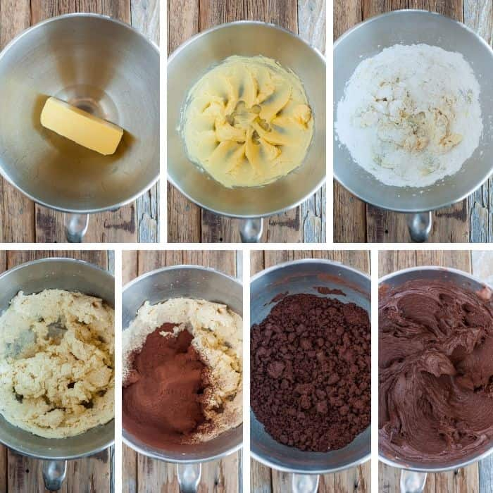 7 photos showing the process of making coffee frosting