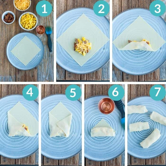 7 photos showing step by step how to wrap and egg roll