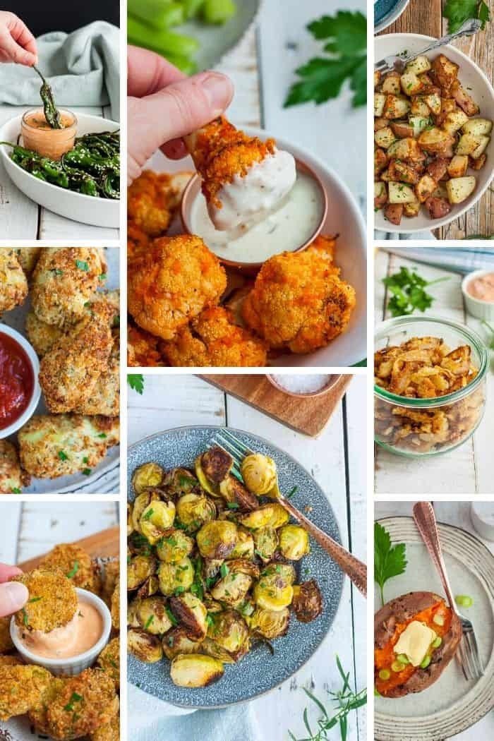 a grid of 8 photos of vegetable air fryer recipes