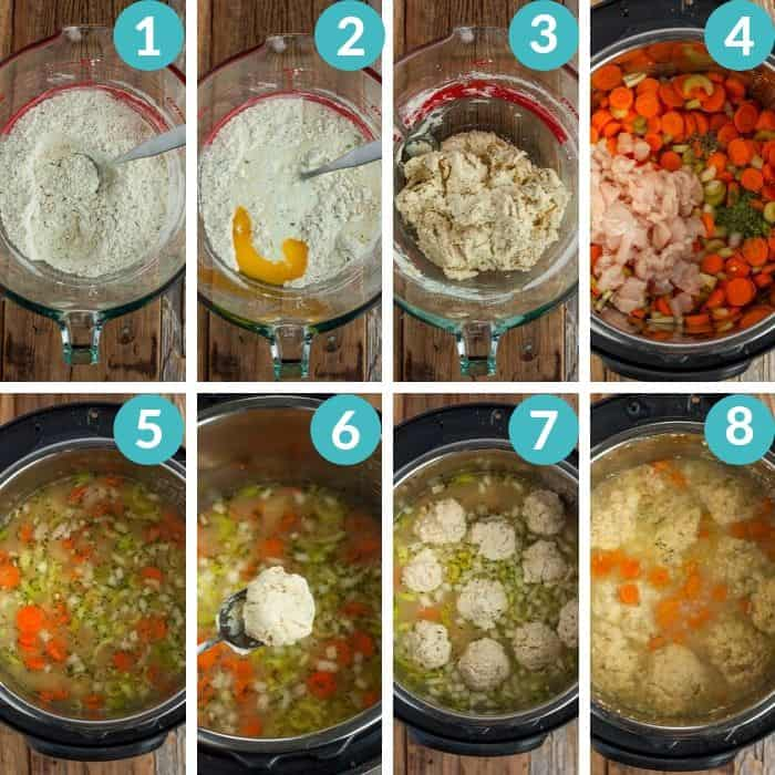 8 photos showing how to make chicken and dumplings in the instant pot