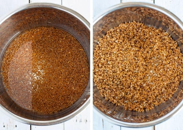 Two photos - uncooked and cooked farro in an instant pot