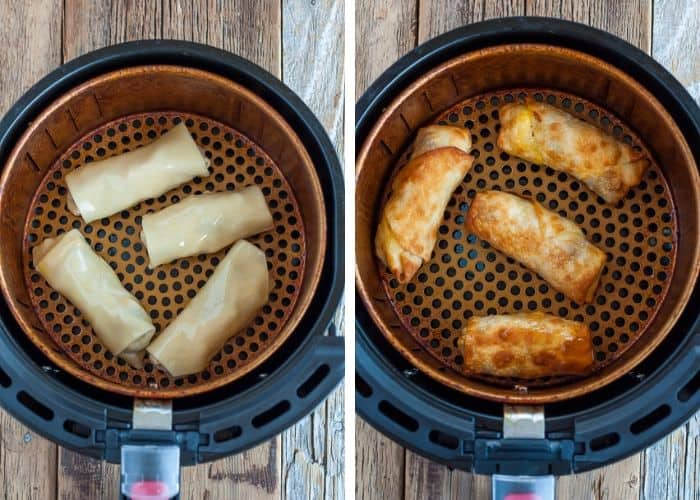 Two photos showing the process of making egg rolls in an air fryer