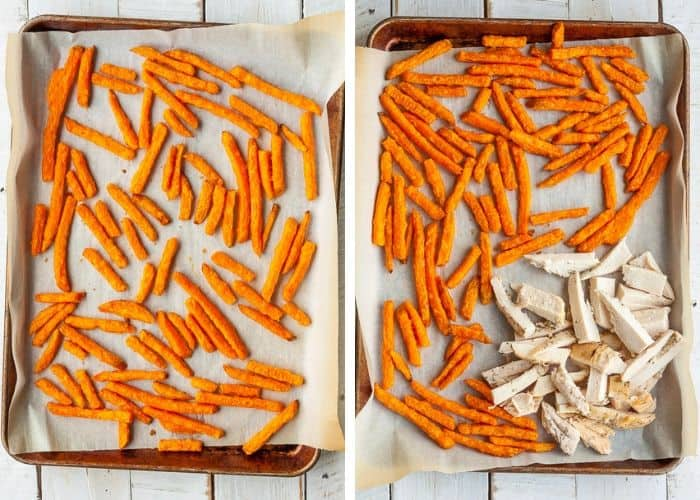 Two photos with sweet potato fries on a baking sheet