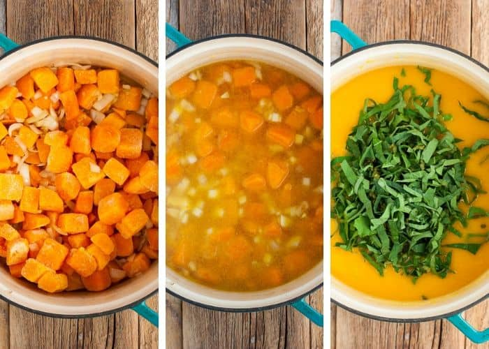 3 photos showing the process of making butternut squash soup