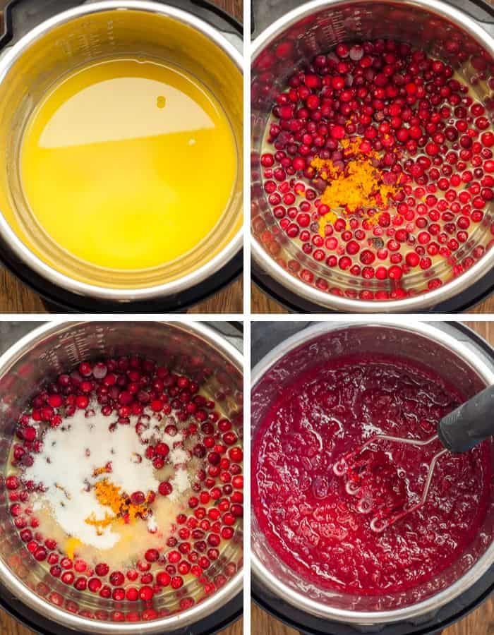 four steps showing how to make pressure cooker cranberry sauce