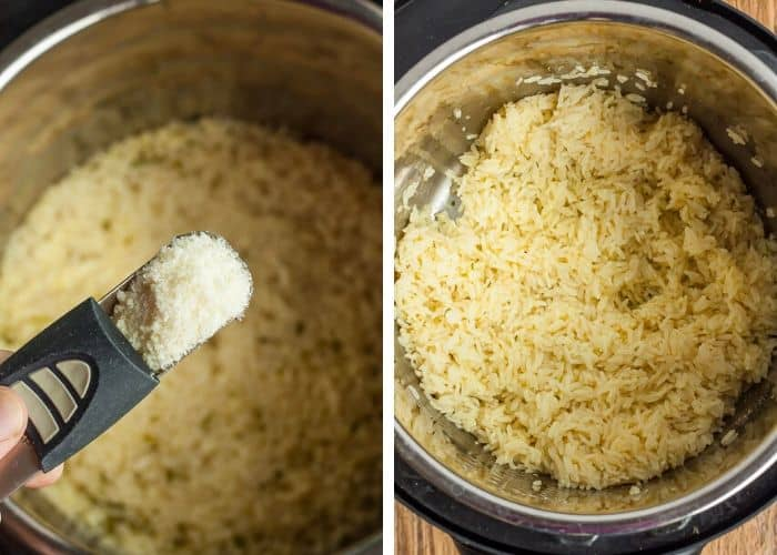 a photo showing cheese being added to an instant pot for garlic rice