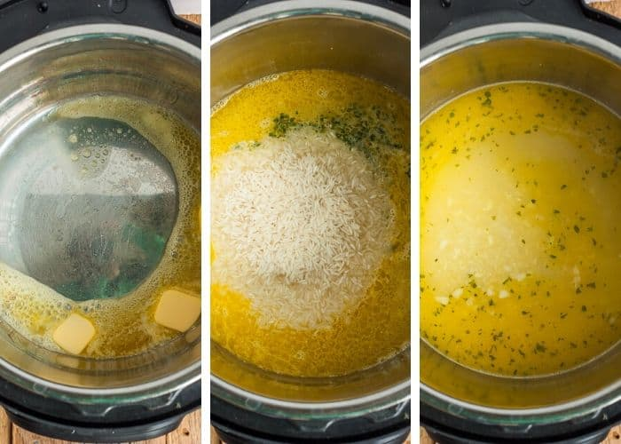 3 photos showing step by step how to make garlic rice in the Instant Pot