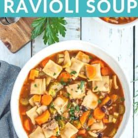 A white bowl of ravioli soup