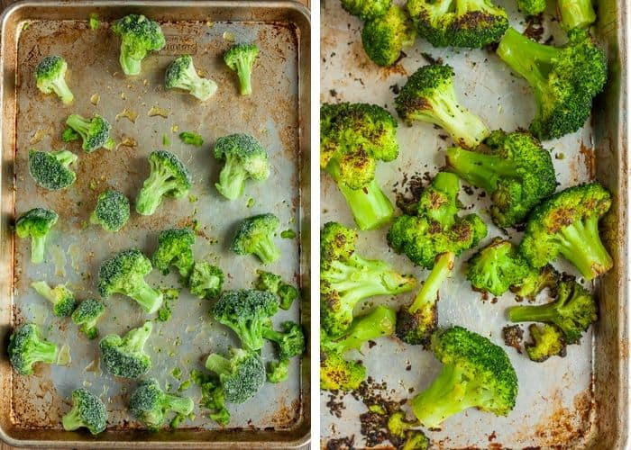 two photos of a pan of frozen broccoli