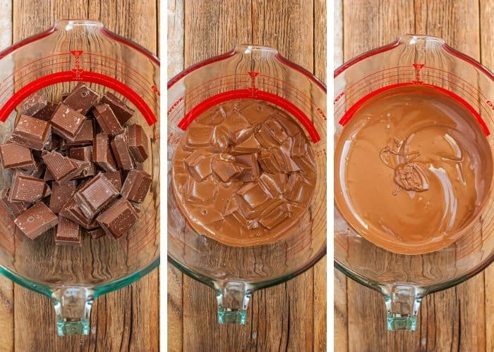 3 photos showing how to temper chocolate in the microwave