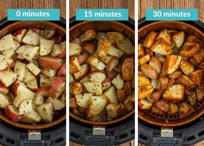 3 photos showing the cooking times for making air fryer ranch potatoes