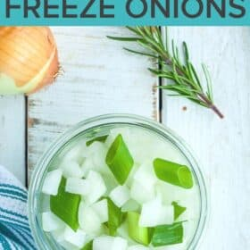 a canning jar of diced frozen onions
