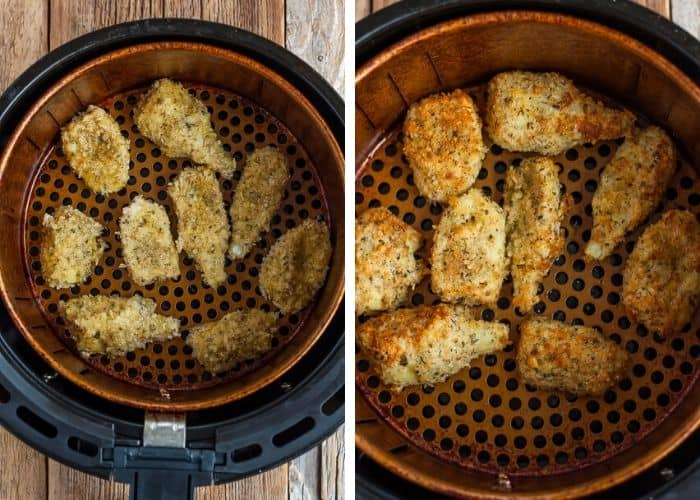 2 photos of breaded artichoke hearts in an air fryer