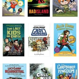 9 graphic novels on a white background