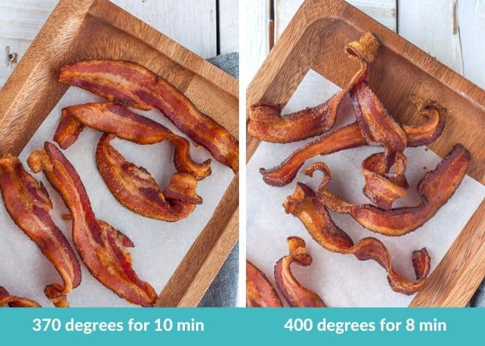 2 photos showing various cooking times for air fryer bacon