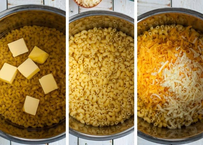 3 photos showing how to make mac and cheese in the instant pot